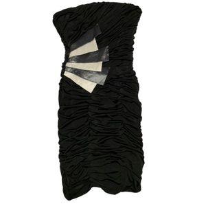 Jessica McClintock black silver strapless dress